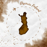 Finland watercolor map in sepia colors. Discover Finland poster with airplane trace and handpainted watercolor Finland map on crumpled paper. Vector Royalty Free Stock Images