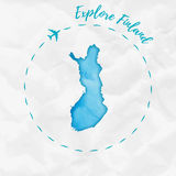 Finland watercolor map in turquoise colors. Royalty Free Stock Photos