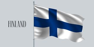 Finland waving flag on flagpole vector illustration. White blue element of Finish wavy realistic flag as a symbol of country Stock Photo