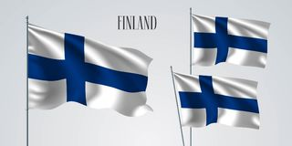 Finland waving flag set of vector illustration. White blue colors of Finland wavy realistic flag as a patriotic symbol Royalty Free Stock Photo