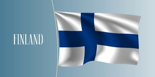 Finland waving flag vector illustration. Iconic design element as a national Finish symbol Royalty Free Stock Image