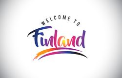 Finland Welcome To Message in Purple Vibrant Modern Colors. Finland Welcome To Message in Purple Vibrant Modern Colors Vector Illustration Royalty Free Stock Photos