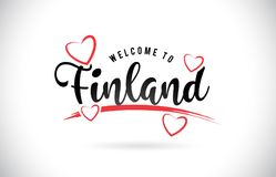 Finland Welcome To Word Text with Handwritten Font and Red Love. Hearts Vector Image Illustration Eps Stock Images
