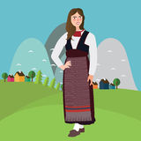 Finland woman wear traditional costume dress clothing ethic cultural fashion smiling female cartoon character Stock Photo