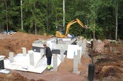 Finlandia: Ciclo de funcionamiento para una fundación de la sauna imagen de archivo