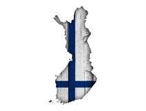 finlandia flagi mapa Zdjęcia Royalty Free