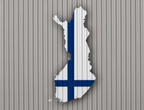 finlandia flagi mapa Zdjęcie Stock