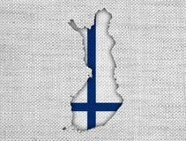 finlandia flagi mapa Fotografia Stock