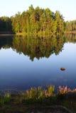 Finlandia: Lago tranquilo por mañana del verano Imagen de archivo libre de regalías