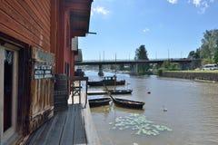 Finlandia Porvoo miasteczka rzeka Zdjęcia Stock