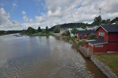 Finlandia Porvoo miasteczka rzeka Fotografia Royalty Free