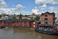 Finlandia Porvoo miasteczka rzeka Obrazy Stock