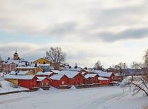 Finlandia. Porvoo viejo en invierno. Imagen de archivo libre de regalías
