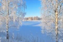 Finlandia. Puerto congelado de Mikkeli Fotografía de archivo