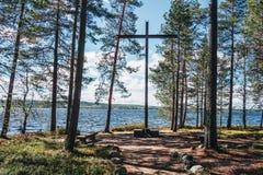 Finlandia Rovaniemi, Pamiątkowy zabytek dla niemieckich żołnierzy w wojnie światowa 2 fotografia stock
