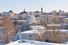 Finlandia. Vista de Lappeenranta antes do por do sol Fotografia de Stock