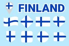 Finlandia zaznacza wektorową kolekcję Set Fińskie flaga państowowa Okrąg, ukośnik, prostokąt, strzała, kierowi symbole z tekstem  ilustracja wektor
