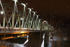 Finlay Bridge on a Snowy Night Royalty Free Stock Images