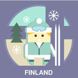 Finn with Ski Vector Illustration Royalty Free Stock Photography