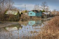 Finn Slough Reflections, Richmond, BC lizenzfreie stockbilder