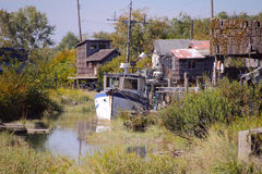 Finn Slough in Richmond, British Columbia. Finn Slough, a collection of ragtag dwellings that has been part of Richmond's landscape for many decades Stock Image