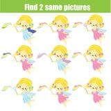 Finna de samma bilderna Identisk fe för fynd två Bildande lek för barn gyckel för ungar och små barn vektor illustrationer