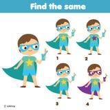 Finna de samma bilderna Finna två identiska pojkar Bildande lek för barn gyckel för ungar och små barn royaltyfri illustrationer