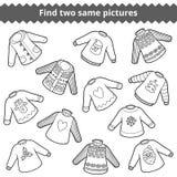 Finna de samma bilderna Uppsättning av tröjor vektor illustrationer