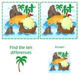 Finna de tio skillnaderna mellan de två bilderna med ön och sänd stock illustrationer