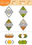 Finna den högra delen Klipp och limleken för barn rhombus vektor illustrationer
