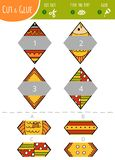 Finna den högra delen Klipp och limleken för barn rhombus stock illustrationer