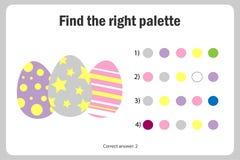 Finna den högra paletten till bilden, ägg i tecknad filmstil, leken för easter utbildningspapper för utvecklingen av barn, ungar royaltyfri illustrationer