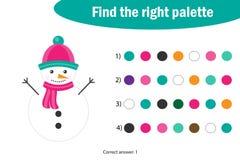 Finna den högra paletten till bilden, snögubbe i tecknad filmstil, leken för julutbildningspapper för utvecklingen av barn, royaltyfri illustrationer