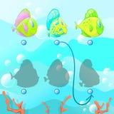 Finna den högra skuggan, den bildande leken för ungar, bildande ungar förbryllar leken vektor illustrationer