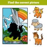 Finna den korrekta bilden, den felika enhörningen och regnbågen royaltyfri illustrationer