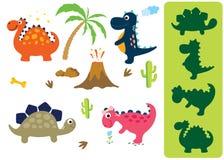 Finna den korrekta skuggan: Förtjusande dinosaurier som isoleras på vit bakgrund stock illustrationer