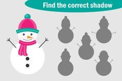 Finna den korrekta skuggan, spela för barn, snögubbe i tecknad filmstil, utbildningsleken för ungar, förskole- arbetssedelaktivit vektor illustrationer