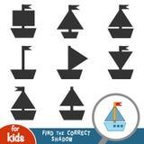 Finna den korrekta skuggan, spela för barn, yacht stock illustrationer