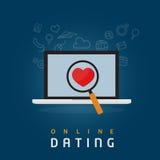 Finna den riktiga förälskelsen med online-datummärkningabstrakt begrepp Royaltyfri Bild