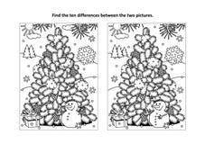 Finna den visuella pussel- och färgläggningsidan för skillnader med julträdet, snögubben, gåva stock illustrationer