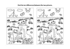 Finna den visuella pussel- och färgläggningsidan för skillnader med stövlar och grodor vektor illustrationer