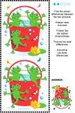 Finna det visuella pusslet för skillnader - grodor och röd hink Royaltyfri Fotografi