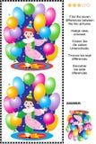 Finna det visuella pusslet för skillnader - liten cirkusclown Arkivbild