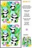 Finna det visuella pusslet för skillnader - pandabjörnar Royaltyfri Fotografi