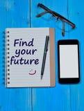 Finna dina framtida ord på anteckningsboken Arkivfoton