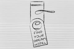 Finna ditt dröm- hotell, rolig design för dörrhängare Royaltyfri Foto