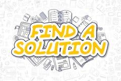 Finna en lösning - klottergulingord äganderätt för home tangent för affärsidé som guld- ner skyen till royaltyfri illustrationer