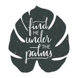 Finna mig under gömma i handflatan handen dragen typografisk design Fotografering för Bildbyråer