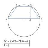 Finna radien R av cirkeln Fotografering för Bildbyråer
