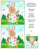 Finna skillnadbildgåtan med påskkaninen och det målade ägget vektor illustrationer